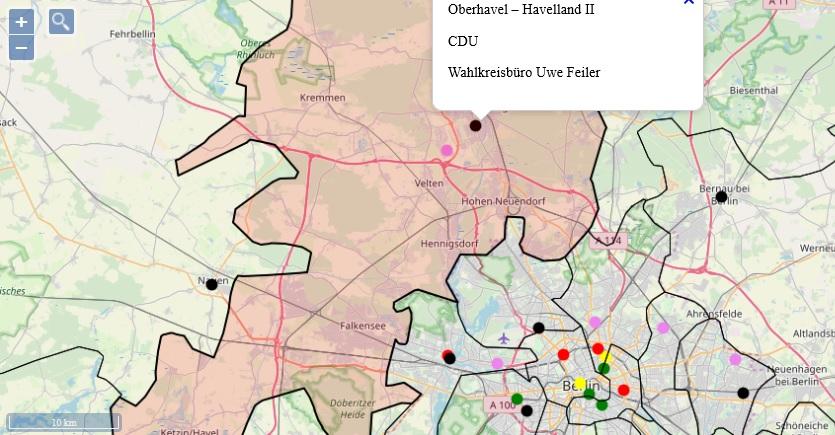 Diese Karte zeigt die Wahlkreisgrenzen genau und benennt die Wahlkreisbetreuung. Über eine Ortssuche kann der Nutzer leicht seinen Standort bestimmen.